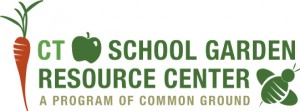 Logo for the CT school garden resource center, a program of common ground, includes illustrations of a carrot, an apple, and a bee.