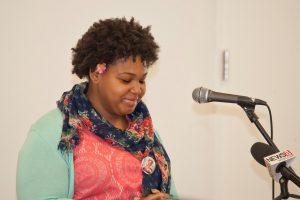 Nyasia Mercer, Common Ground Class of 2016, speaks at the grand opening for Common Ground's new school building.