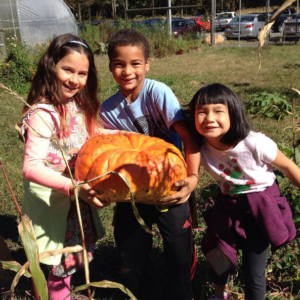 3 kids on the farm with pumpkin