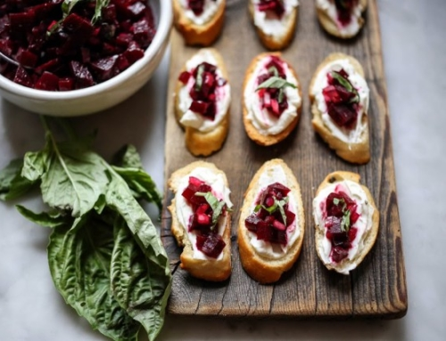 Seasonal Recipe: Beet Bruschetta with Goat Cheese Spread