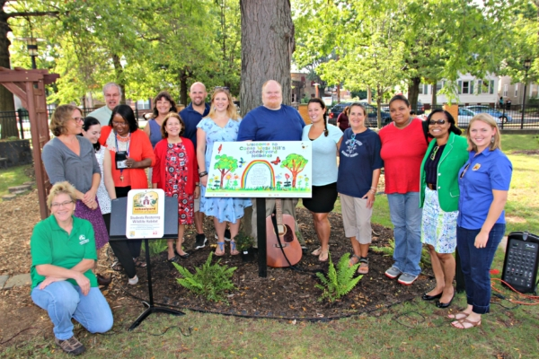 Parents, teachers and administrators from Conte West Hills Magnet School join staff from Common Ground, Audubon CT, and US Fish & Wildlife Service to celebrate the unveiling of their Schoolyard Habitat alongside their School Garden in Fall 2016. Photo credit: Suzannah Holsenbeck